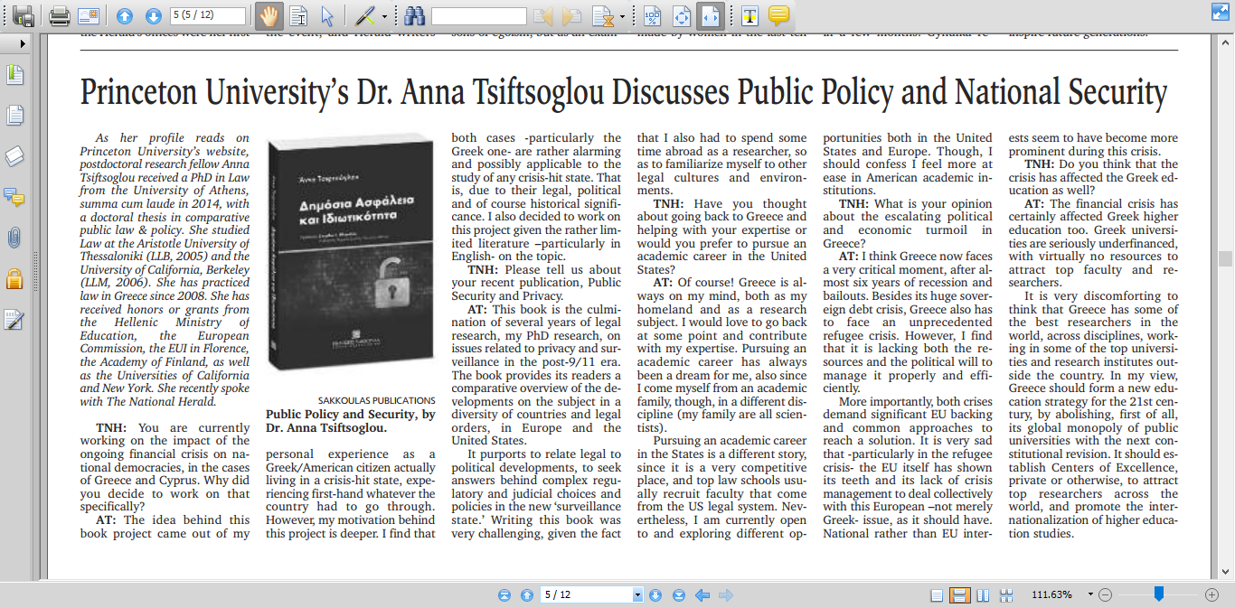 Princeton's University Dr. Anna Tsiftsoglou discusses Public Policy and National Security