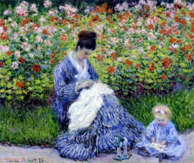 Camille Monet and a Child-Claude Monet