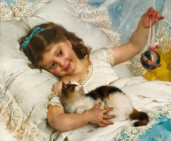 Young girl and cat (1882)