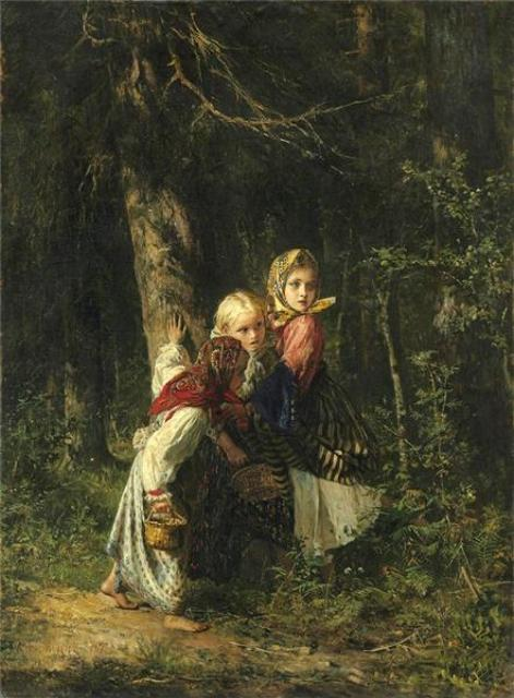 Peasant girls in the forest