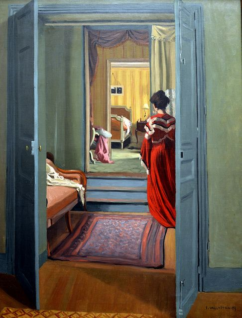 Interior with women in red robe