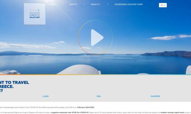 Σε 6 γλώσσες και με ανανεωμένο περιεχόμενο η ιστοσελίδα «Destination Greece. Health First», ενόψει της τουριστικής σεζόν του 2021